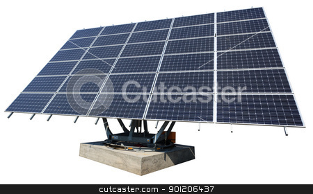 Solar panel isolated on white stock photo, Solar energy plant isolated on white background with clipping path.  by Natalia Macheda