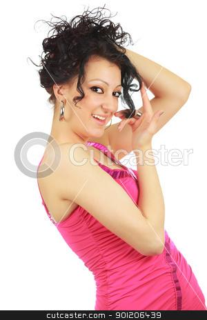 Wonderful hair stock photo, Beautiful caucasian girl enjoying her wonderful hair isolated on white by Natalia Macheda