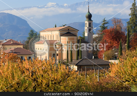 Autumn in Trentino stock photo, Beautiful autumnal landscape with church and Alps in Trentino, the Northern Italy by Natalia Macheda