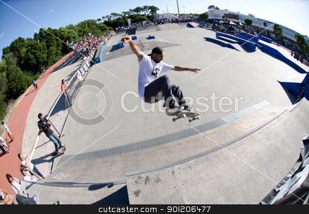 Francisco Lopez stock photo, ILHAVO, PORTUGAL - SEPTEMBER 04: Francisco Lopez during the 2nd Stage of the DC Skate Challenge on September 04, 2011 in Ilhavo, Portugal. by Homydesign
