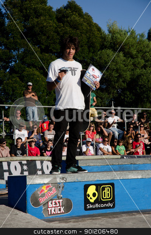 Best trick contest winner stock photo, ILHAVO, PORTUGAL - SEPTEMBER 04: Duarte Pombo during the 2nd Stage of the DC Skate Challenge on September 04, 2011 in Ilhavo, Portugal. by Homydesign
