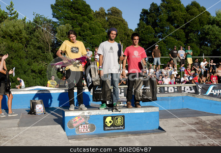 Amateur rank winners stock photo, ILHAVO, PORTUGAL - SEPTEMBER 04: João Santos, Francisco Lopes and Pedro Chalabardo during the 2nd Stage of the DC Skate Challenge on September 04, 2011 in Ilhavo, Portugal. by Homydesign