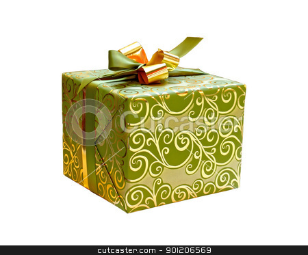 Gift box stock photo, Blue gift box isolated on white background by Borislav Marinic