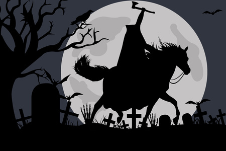 Illustration of a headless horseman stock vector clipart, Illustration of a headless horseman with moon in background by Ioana Martalogu