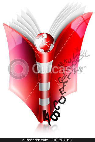 Lighthouse book stock photo, Book of Literature open with the back shaped like a lighthouse and scattered letters by catalby