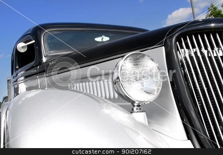 Classic car stock photo, Classic car front end with blue sky background by Sreedhar Yedlapati