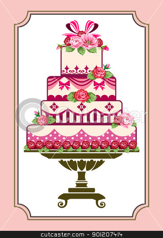 Cake with roses stock vector clipart, Sweet pink cake with roses, template to birthday or wedding by Ela Kwasniewski