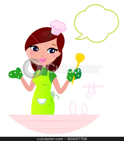 Young beautiful woman with speech bubble cooking in the kitchen stock vector clipart, Cooking Mother showing something about cooking. Vector cartoon illustration.  by BEEANDGLOW