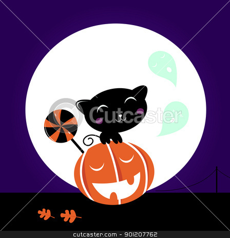 Cute Black Cat, Pumpkin head and sweet Lollipop stock vector clipart, Cute stylized Cat character, Halloween Midnight scene. Vector cartoon Illustration.