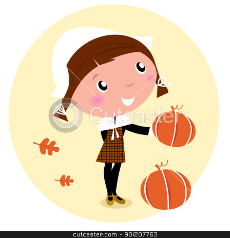 Thanksgiving day, Harvest - Pilgrim Child with pumpkin head stock vector clipart, Cute Pilgrim Child during Thanksgiving day - vector cartoon Illustration.  by Jana Guothova