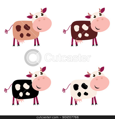 Cute cow set in 4 different colors isolated on white background stock vector clipart, Vector collection of four happy Cow characters - isolated on white.