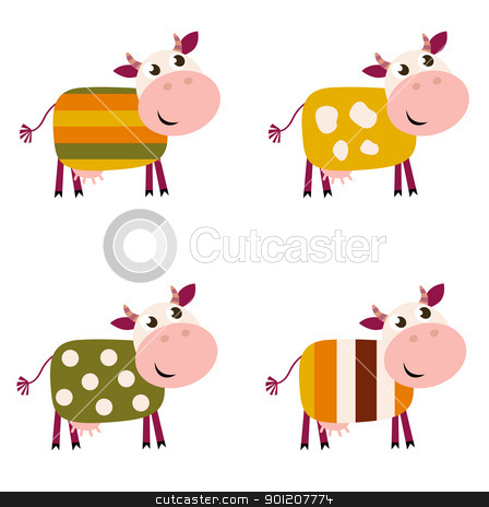 Cute color pattern Cows collection isolated on white background stock vector clipart, Vector collection of four happy creative Cow characters - isolated on white.  by Jana Guothova