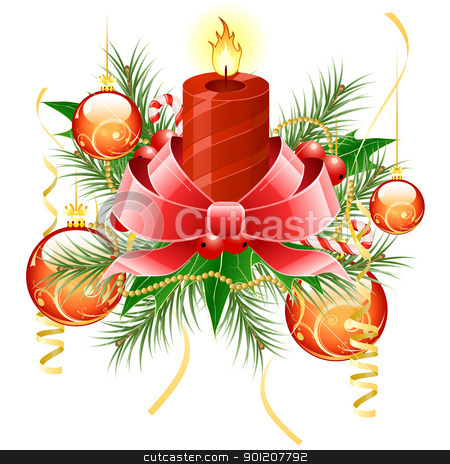 Christmas background stock vector clipart, Christmas background with candle and decoration for your design by Vadym Nechyporenko