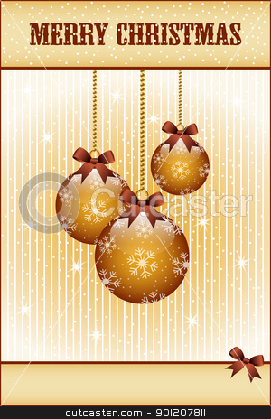 Gold christmas balls and bows stock vector clipart, Gold christmas balls and bows decorated with snowflakes. Stars and snow in the background. Copy space for text. by toots77