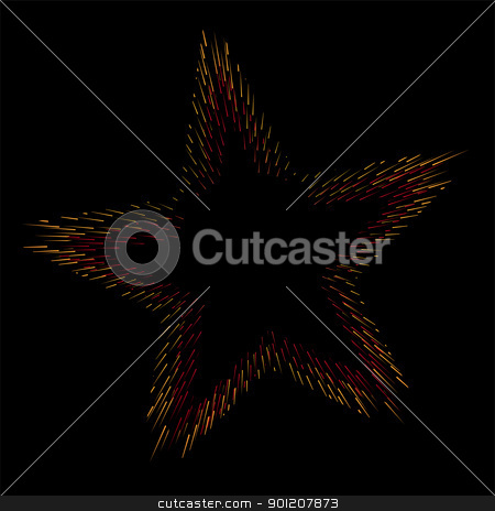 Fire in star shape stock vector clipart, Star shape made of fireworks isolated on black by oxygen64
