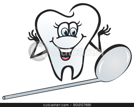 Happy tooth stock vector clipart, Illustration of happy tooth looking in the mirror by oxygen64