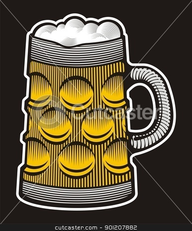 Beer mug stock vector clipart, Beer mug illustration with woodcut shading on black background. by fractal.gr