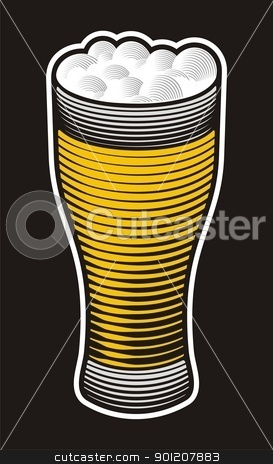 Beer pint stock vector clipart, Beer pint illustration with woodcut shading on black background. by fractal.gr