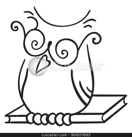 Wisdom symbol stock vector clipart, Illustration of owl seating on the book by oxygen64