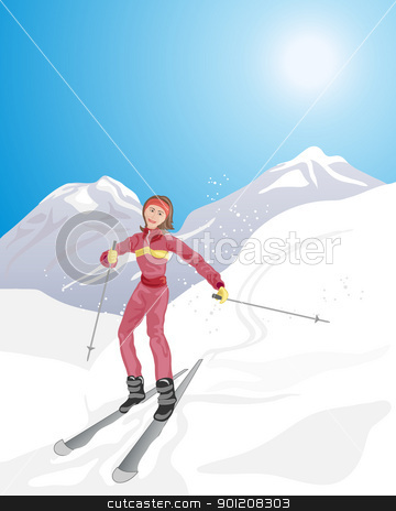 skiing stock vector clipart, an illustration of a young woman skiing downhill in a beautiful mountain landscape under a cold blue sky by Mike Smith