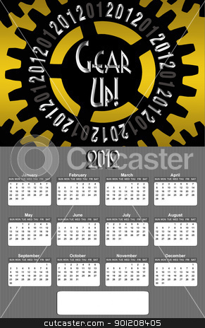 Gear up 2012 Annual CalendarLarge Image stock photo, Gear Up Image 2012 Promotional Annual Calender with Blank Open Copy Area (Large Image) by Snap2Art