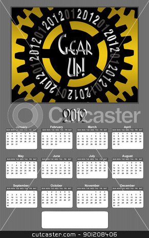 Gear up 2012 Annual Calendar Medium Image stock photo, Gear Up Image 2012 Promotional Annual Calender with Blank Open Copy Area (Medium Image) by Snap2Art