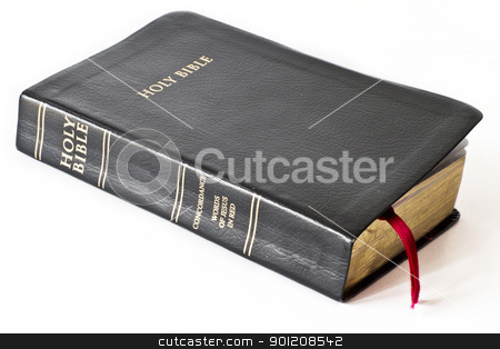 Holy Bible stock photo, Holy Bible on white  background by manaemedia