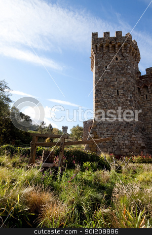 Stone Tower stock photo, A tower made of stone that is part of a castle by Kevin Tietz