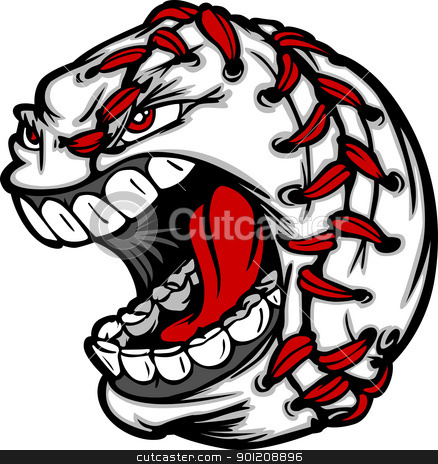 Baseball Ball Cartoon Face Illustration stock vector clipart, Cartoon Baseball with Screaming Face by chromaco
