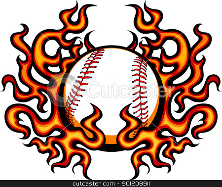 Baseball Template with Flames Vector Image stock vector clipart, Graphic baseball vector image template with flames by chromaco