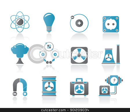 Atomic and Nuclear Energy Icons stock vector clipart, Atomic and Nuclear Energy Icons - vector icon set by Stoyan Haytov