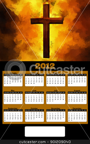 2012 Flaming Christian Cross Painting Calendar stock photo, 2012 Flaming Christian Cross Painting on Black Background Calendar by Snap2Art