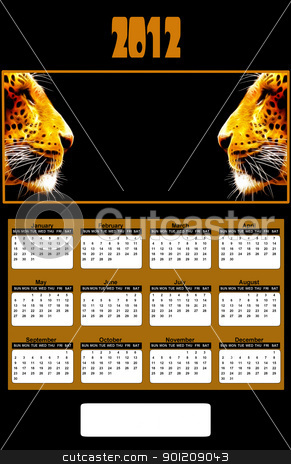 2012 Neon African Leopard Heads Calendar stock photo, 2012 Neon African Leopard Heads Calendar (place company logo between two Leopards) by Snap2Art