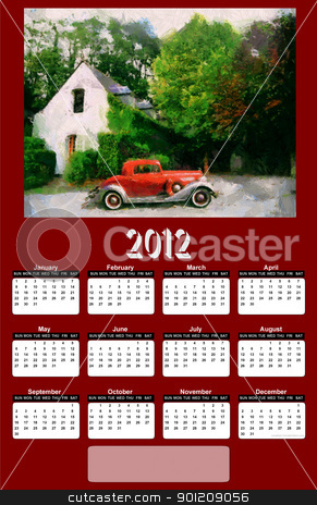 2012 Vintage Car on Red Brown Calendar stock photo, 2012 Vintage Car on Dark Red Brown Background Calendar by Snap2Art