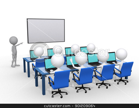 3d person with pointer in hand close to board, concept of educat stock photo, 3d person with pointer in hand close to board, concept of education and learning, 3d render illustration  by dacasdo