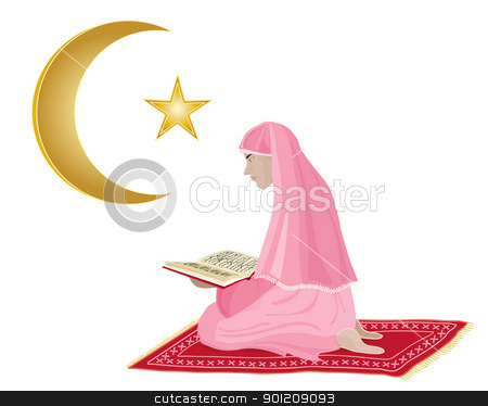 reading the koran stock vector clipart, an illustration of a young girl reading the koran dressed in pink kneeling on a red prayer mat on a white background by Mike Smith