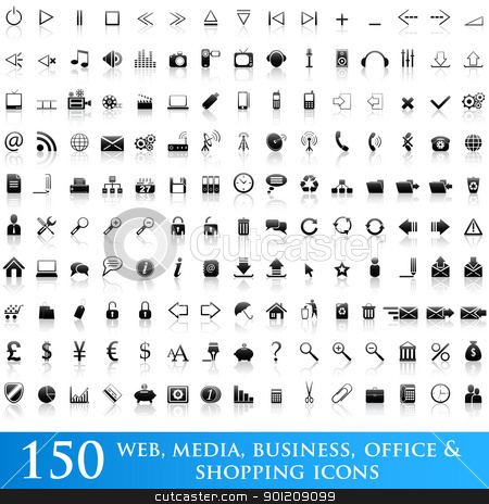 Icon set for web applications stock vector clipart, Set of 150 web, media, business, office and shopping icons by Vladimir Gladcov