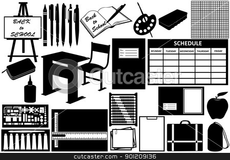 Different objects for school stock vector clipart, Different objects for school isolated on white by Ioana Martalogu