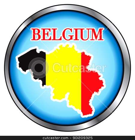 Belgium Round Button stock vector clipart, Vector Illustration for the Belgium, Round Button. by Basheera Hassanali