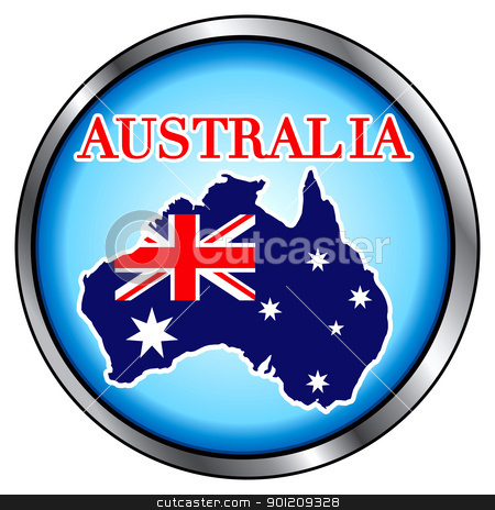 Australia Round Button stock vector clipart, Vector Illustration for the country of Australia, Round Button. by Basheera Hassanali