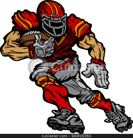 Football Player Runningback Vector Cartoon stock vector clipart, Cartoon Vector Silhouette of a Cartoon Football Player Rushing by chromaco