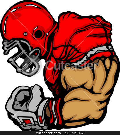 Football Player Lineman Vector Cartoon stock vector clipart, Cartoon Vector Silhouette of a Cartoon Football Player Flexing Arm by chromaco