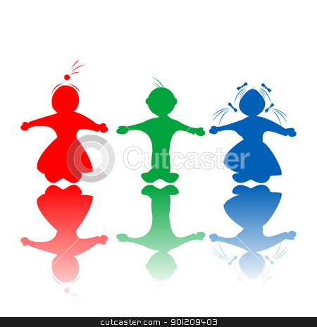 Kids in colors stock vector clipart, Happy hugging children silhouettes in colors, isolated objects over white background by Richard Laschon