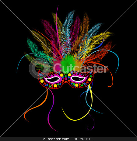 Mardi grass party mask stock vector clipart, Mardi grass party mask over black background by Richard Laschon