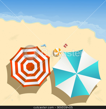 On the beach stock vector clipart, Couple of umbrellas on the beach, graphic art by Richard Laschon