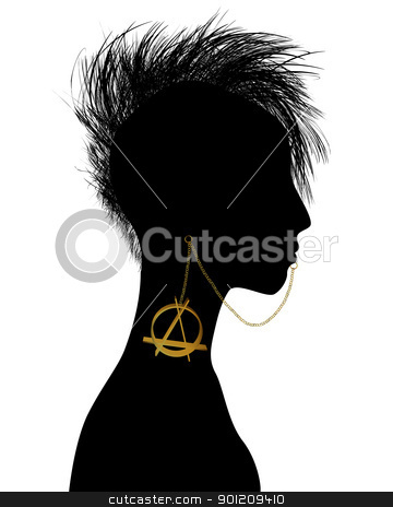 Punk girl stock vector clipart, Hand drawn punk girl silhouette with piercing by Richard Laschon
