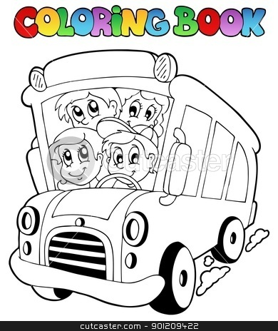 Coloring book with bus and children stock vector clipart, Coloring book with bus and children - vector illustration. by Klara Viskova