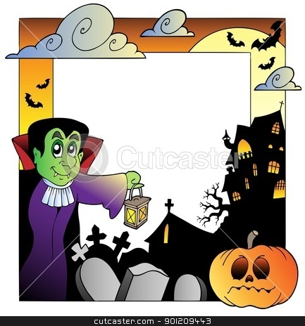 Frame with Halloween topic 2 stock vector clipart, Frame with Halloween topic 2 - vector illustration. by Klara Viskova