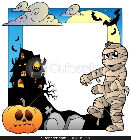 Frame with Halloween topic 3 stock vector clipart, Frame with Halloween topic 3 - vector illustration. by Klara Viskova