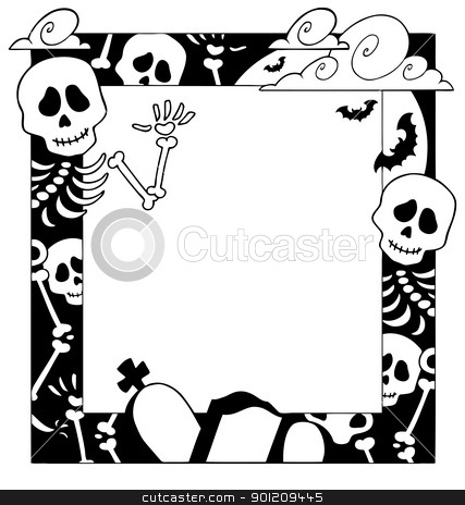Frame with Halloween topic 4 stock vector clipart, Frame with Halloween topic 4 - vector illustration. by Klara Viskova